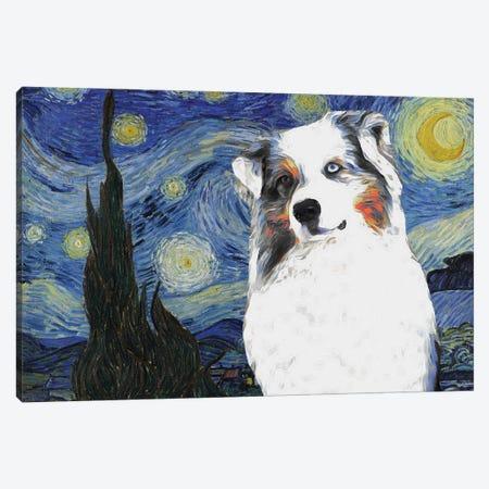 Australian Shepherd Aussie The Starry Night Canvas Print #NDG588} by Nobility Dogs Art Print