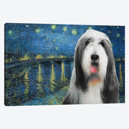 Bearded Collie Starry Night Over The Rhone Canvas Print #NDG590} by Nobility Dogs Canvas Wall Art