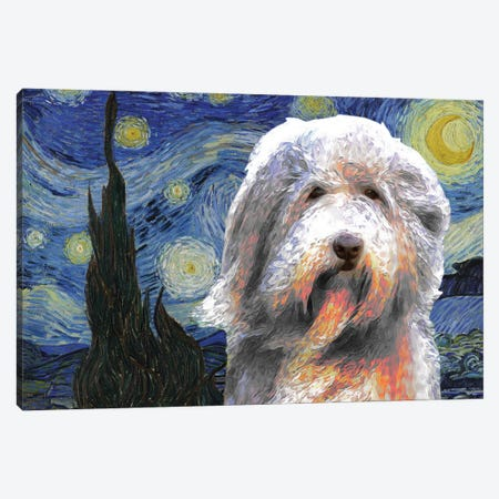 Bearded Collie The Starry Night Canvas Print #NDG591} by Nobility Dogs Canvas Wall Art