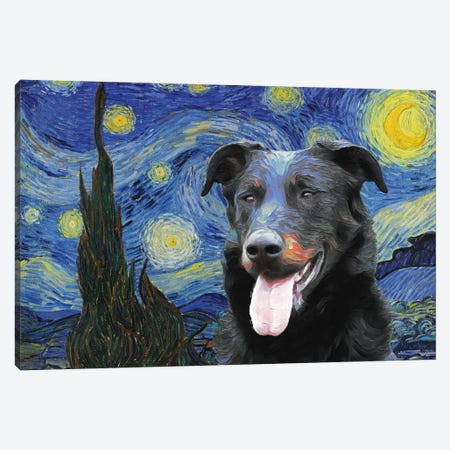 Beauceron Starry Night Canvas Print #NDG593} by Nobility Dogs Canvas Wall Art