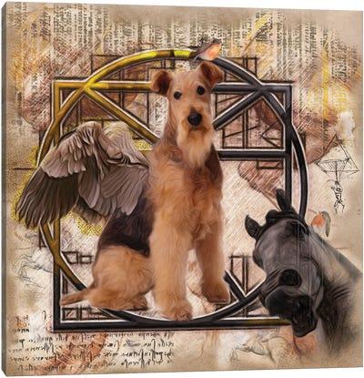 Airedale Terrier Angel Da Vinci Canvas Art Print