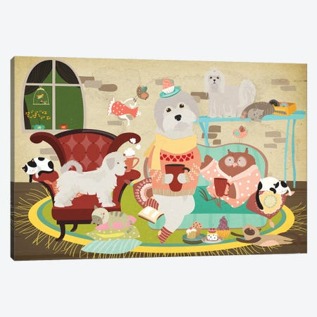 Maltese Dog Tea Time Canvas Print #NDG616} by Nobility Dogs Canvas Wall Art