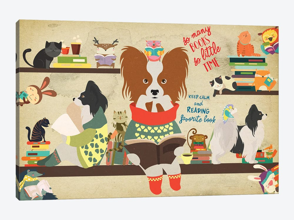 Papillon Dog Book Time by Nobility Dogs 1-piece Canvas Artwork