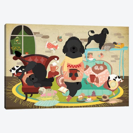Portuguese Water Dog Tea Time Canvas Print #NDG627} by Nobility Dogs Canvas Print