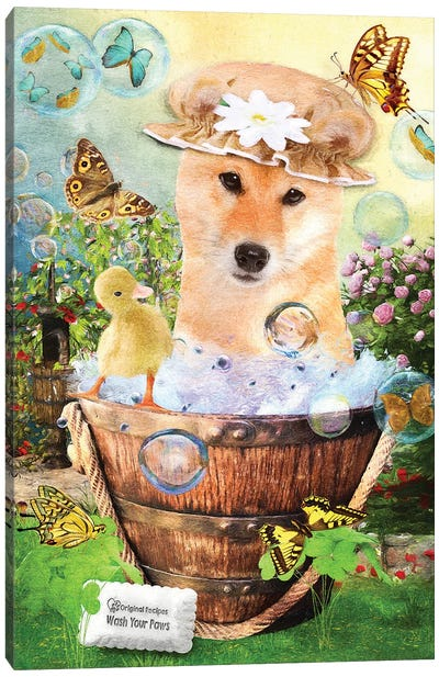Red Shiba Inu Wash Your Paws Canvas Art Print