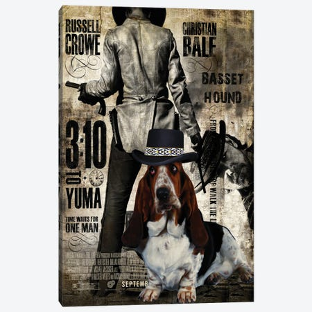 Basset Hound 3:10 To Yuma Movie Canvas Print #NDG640} by Nobility Dogs Canvas Art