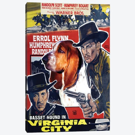 Basset Hound Virginia City Movie Canvas Print #NDG643} by Nobility Dogs Canvas Wall Art