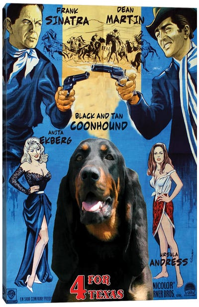 Black And Tan Coonhound 4 For Texas Movie Canvas Art Print