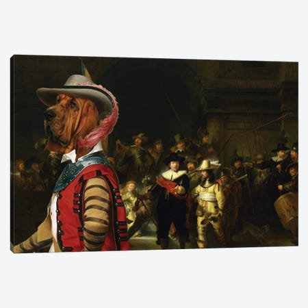 Bloodhound The Night Watch Canvas Print #NDG661} by Nobility Dogs Canvas Wall Art
