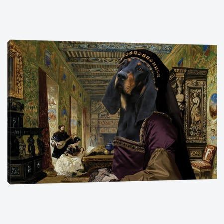 Black And Tan Coonhound The Drawing Room Canvas Print #NDG662} by Nobility Dogs Canvas Artwork