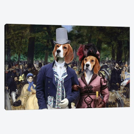 Beagle Music In The Tuileries Gardens Canvas Print #NDG663} by Nobility Dogs Canvas Art
