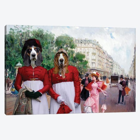 Basset Hound Fashionable Figures On A Parisian Street Canvas Print #NDG669} by Nobility Dogs Canvas Artwork
