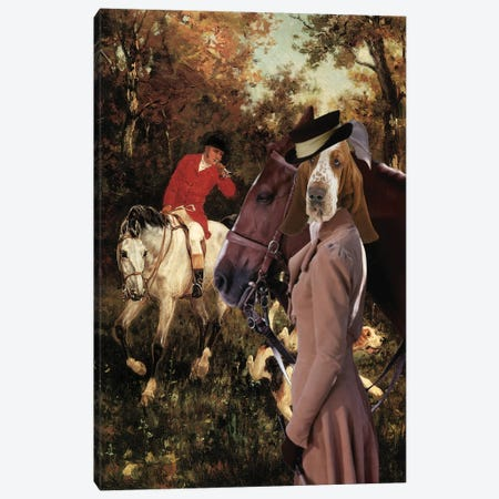 Basset Hound To The Cover Canvas Print #NDG670} by Nobility Dogs Art Print