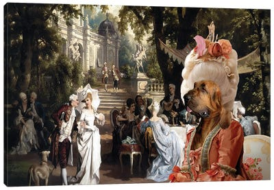 Bloodhound The Garden Party Canvas Art Print