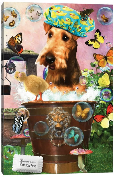 Airedale Terrier Wash Your Paws Canvas Art Print