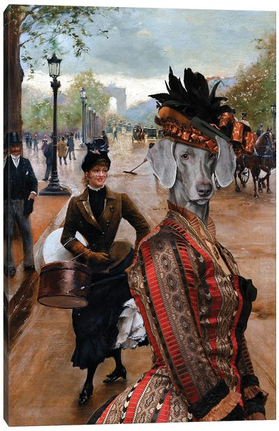 Weimaraner Lady On The Champs Elysees Canvas Art Print