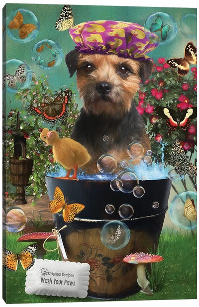Border Terrier Wash Your Paws Canvas Art Print