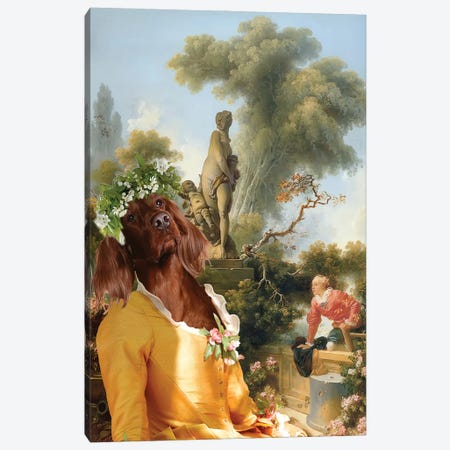 Irish Setter The Gallant Meeting Canvas Print #NDG699} by Nobility Dogs Canvas Print