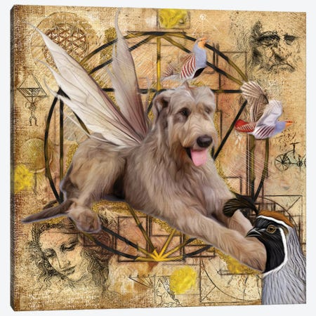Irish Wolfhound Angel Da Vinci Canvas Print #NDG6} by Nobility Dogs Canvas Wall Art