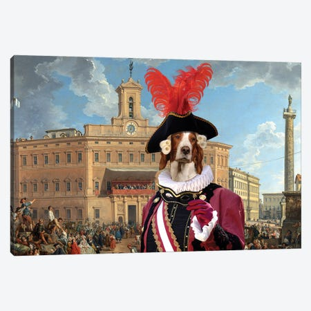 Irish Red And White Setter The Lottery In Piazza Canvas Print #NDG701} by Nobility Dogs Canvas Art Print