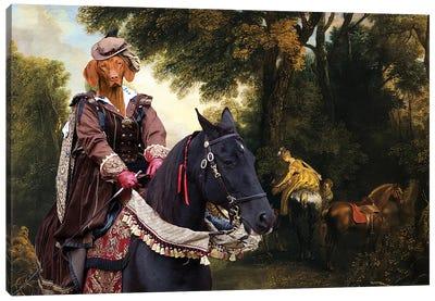 Vizsla Hunting Lady Canvas Art Print