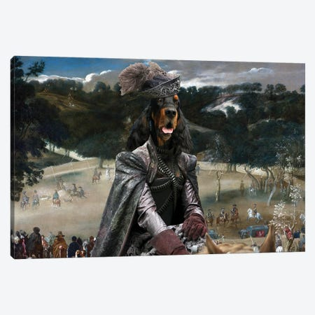 Gordon Setter Philip Iv Hunting Wild Boar Canvas Print #NDG707} by Nobility Dogs Canvas Art