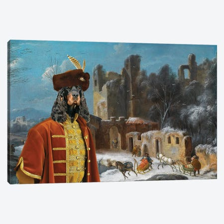 Gordon Setter A Winter Landscape With Travelers Canvas Print #NDG708} by Nobility Dogs Art Print