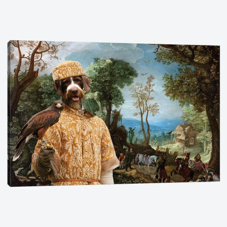 German Wirehaired Pointer Landscape With Hunters Canvas Print #NDG710} by Nobility Dogs Canvas Art