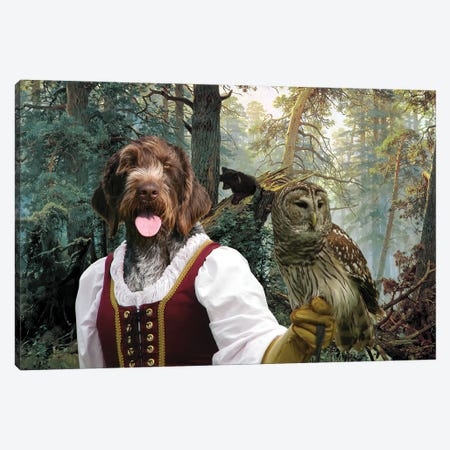 German Wirehaired Pointer Lady Owl And Little Bears Canvas Print #NDG711} by Nobility Dogs Canvas Wall Art