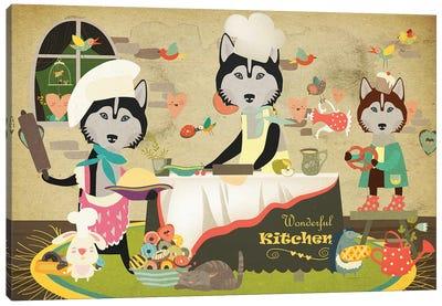 Siberian Husky Happy Kitchen Canvas Art Print