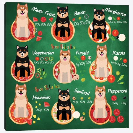 Shiba Inu Pizza Time Canvas Print #NDG715} by Nobility Dogs Canvas Print