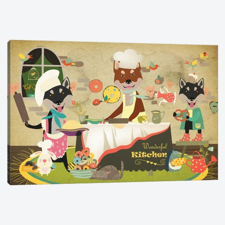 Shiba Inu Happy Kitchen Canvas Print #NDG716} by Nobility Dogs Art Print