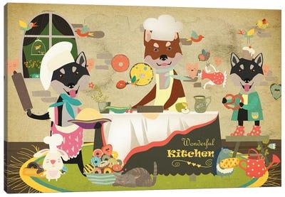 Shiba Inu Happy Kitchen Canvas Art Print