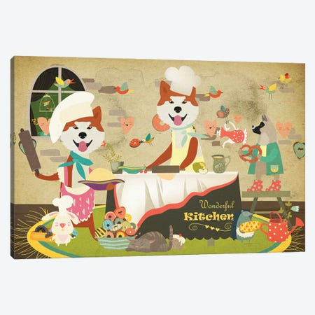 Akita Inu Happy Kitchen Canvas Print #NDG718} by Nobility Dogs Canvas Artwork