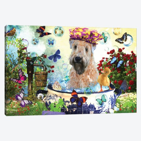 Wheaten Terrier Wash Your Paws Canvas Print #NDG71} by Nobility Dogs Canvas Art Print