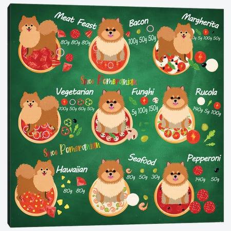 Pomeranian Pizza Time Canvas Print #NDG722} by Nobility Dogs Art Print