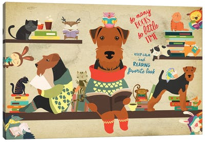 Airedale Terrier Book Time Canvas Art Print