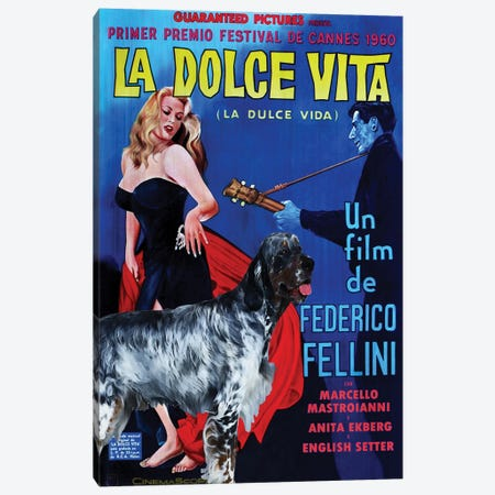English Setter La Dolce Vita Movie Canvas Print #NDG736} by Nobility Dogs Art Print