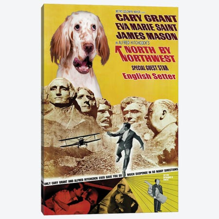 English Setter North By Northwest Movie Canvas Print #NDG738} by Nobility Dogs Canvas Wall Art