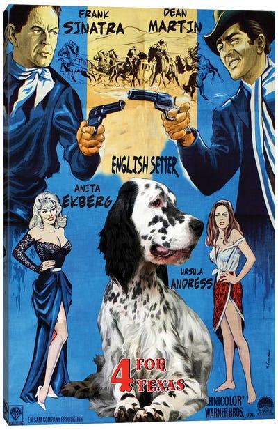 English Setter 4 For Texas Movie Canvas Art Print