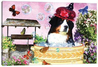 Bernese Mountain Dog Wash Your Paws Canvas Art Print