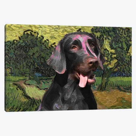 Flat-Coated Retriever Landscape With Castle Auvers At Sunset Canvas Print #NDG754} by Nobility Dogs Canvas Print