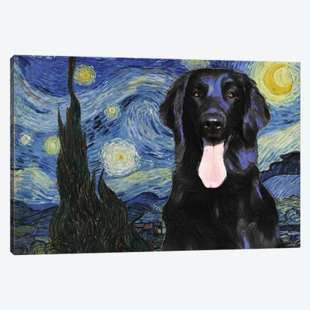 Flat-Coated Retriever The Starry Night Canvas Print #NDG755} by Nobility Dogs Art Print