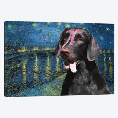 Flat-Coated Retriever Starry Night Over The Rhone Canvas Print #NDG756} by Nobility Dogs Canvas Print