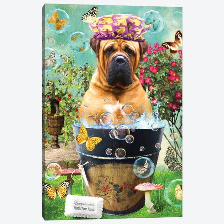 Bullmastiff Wash Your Paws Canvas Print #NDG76} by Nobility Dogs Canvas Art