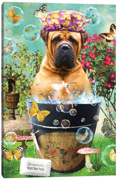 Bullmastiff Wash Your Paws Canvas Art Print