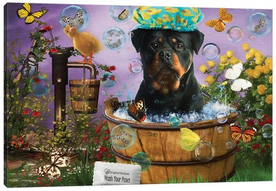 Rottweiler Wash Your Paws Canvas Art Print