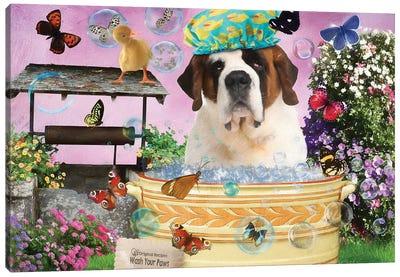 St Bernard Dog Wash Your Paws Canvas Art Print