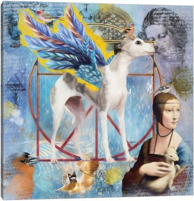Whippet Angel Da Vinci Canvas Art Print