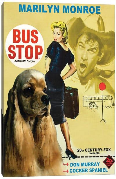 Cocker Spaniel Bus Stop Movie Canvas Art Print